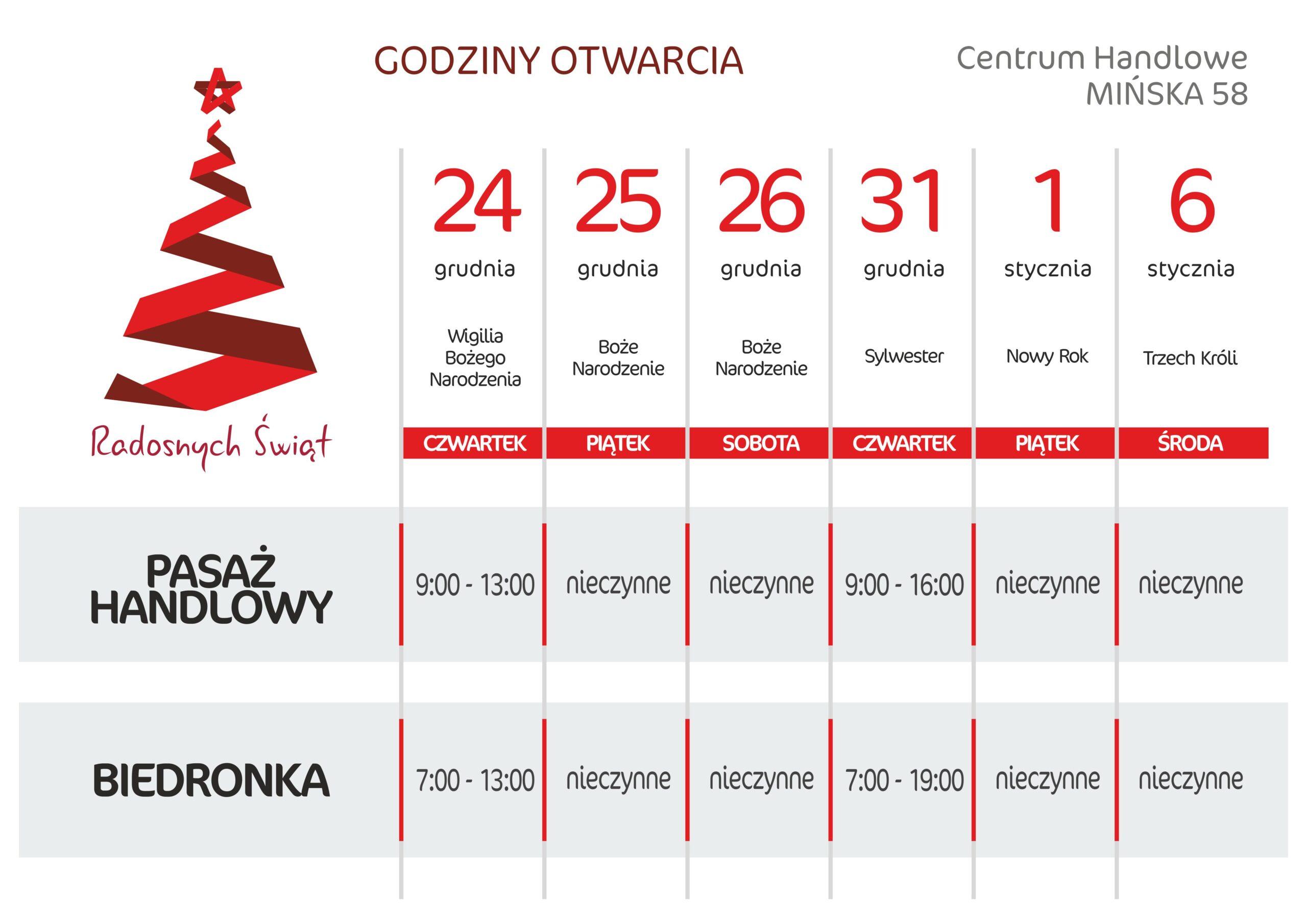 Godziny otwarcia w okresie świątecznym.