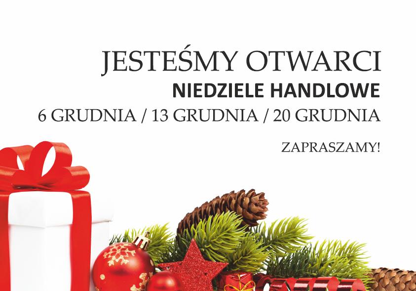 Jesteśmy otwarci w niedziele w grudniu!!!